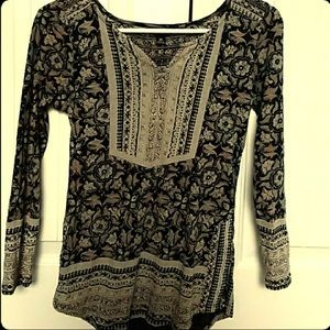 XS Lucky brand top floral tribal print 3/4 sleeve